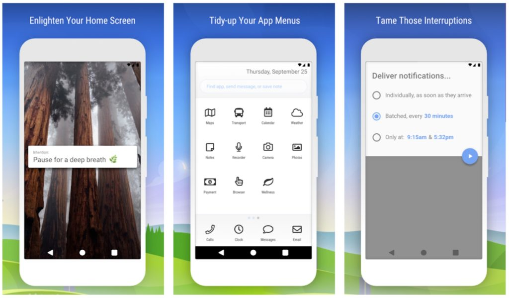 Siempo app interface and home screen interface