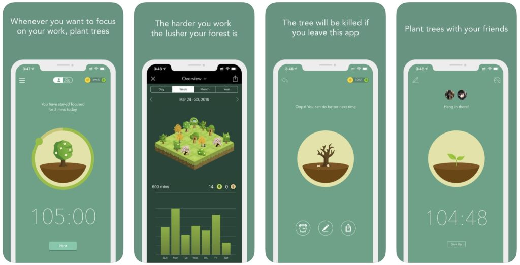 Forest app interface and directions